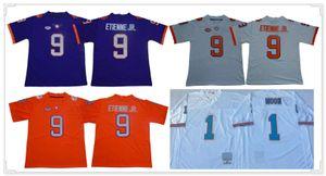 Hommes Clemson Tigers # 9 Travis Etienne Jr 1 Warren Moon 3 Josh Rosen Kansas City 87 Travis Kelce Vintage American College Football Maillots