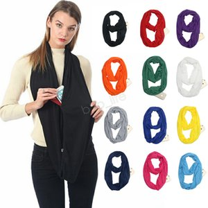Women Infinity Scarves With Zipper Pocket Lightweight solid candy color Ring Scarf Loop Storage Bib 180*50cm LJJA2866