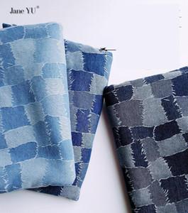 Tecido Janeyu Splicing Lavagem de Lavagem Jacquard Denim Calças Primavera e Outono Pano DIY Handmade