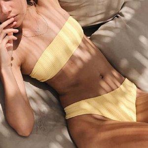 Sexy Stretch tiras ajustado de Bikini de 2019 mujer empuja hacia arriba acolchada Llanura altura de la cintura del traje de baño de las mujeres