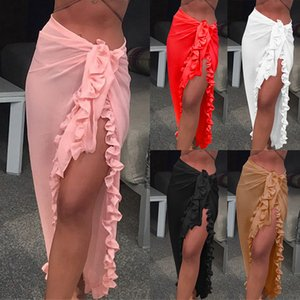 Women Ruffle Bikini Cover Up Beach Dress Sarong Chiffon Wrap Skirt Female Sexy Swimwear Summer Long Swim Btahing Dress Beachwear