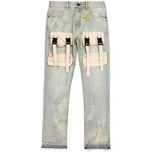 Mens Designer Jeans NO PHONEVal Kristopher Canvas Pocket Tactical Boucle Washed Rétro Jeans Pantalons Pantalons High Street Denim Fashion