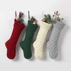Navidad acrílico calcetines de punto blanco verde rojo gris Knitting Stocking árbol de navidad que cuelgan del partido de Navidad del calcetín del caramelo del regalo medias