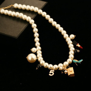 luxury jewelry women designer necklace pearl necklace with bag high-heeled shoes double sweater chains elegant long necklaces for girl gift