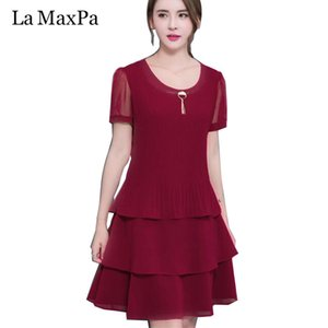 LA MAXPA 2020 New Arrival Women Summer Dress Elegant Ladies Party Cocktail Ruffles Dress Plus Size 4XL Loose Chiffon Solid