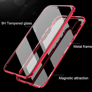 Ultra Slim Magnetic Adsorption Case Metal Frame Front and Back Tempered Glass Full Body Protective Case for Iphone XS Max XR 8 7