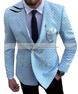 Men's Dot Suits Slim Fit Prom Notch Lapel Tuxedos 2 Piece Double Breasted Patterned Jacket for Wedding Groomsmen (Blazer+Pants)