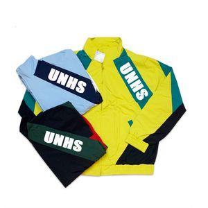 top UNHS 20SS big logo Paneled Track Jacket streetwear Couple Fashion HipHop School Skateboard jacket Windbreaker HLS001