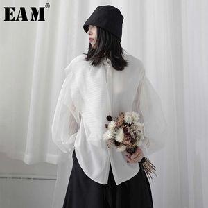 [EAM] Women White Perspective Split Blouse New Lapel Long Lantern Sleeve Loose Fit Shirt Fashion Tide Spring Summer 2020 1W303