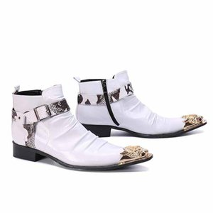British Retro Men Boots Microfiber White Men Motorcycle Boots Casual Shoes Male Fashion Buckle Quality Zapatillas