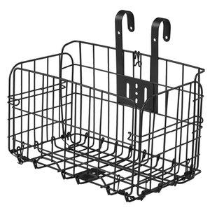 Folding Bike Basket Detchable Steel Wire Bike Handlebar Front Basket Bicycle Rear Rack Hanging Basket Cycling Cargo Carrier