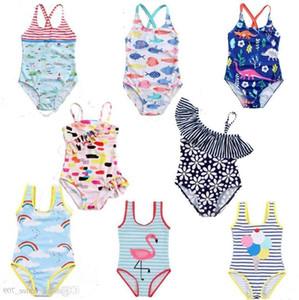 Children Swimwear Baby Girls Unicorn Flamingo Dinosaur Floral Rainbow Stripe Print Swimsuit 2019 Summer Fashion Bikini Kids One-pieces C6023
