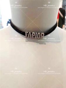 Gelin için bayan Tasarım Kadınlar Partisi Düğün Aşıklar hediye Lüks Takı için Toptan Var pullar Yüksek versiyon kadife tasarımcı kolye gerdanlık