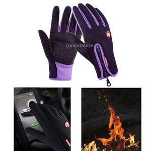 Nylon Windproof Fishing Hunting Cycling Gloves Winter Warm Gloves Purple Hunting Gloves for Camping Hiking