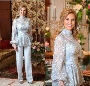 Светло-голубой мать невесты Groom костюма 2020 High Neck Кружева Вышивка с длинным рукавом Mother Случай партия вечера Pant Suit