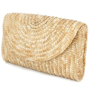 LJL-Straw Clutch Purses For Women Summer Beach Handbags, Wedding Envelope Wallet Color: Brown
