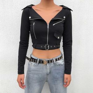 Frauen Rockmores Punk Jacken mit Bogen-Gurt-Reißverschlusstaschen Femme Langarm Outwear Moto Biker dünnen Crop Coats Street