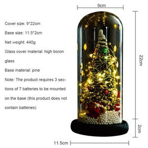 Christmas Tree In Glass Dome With LED String Light Battery Operated Xmas Festive Indoor Room Ornaments new