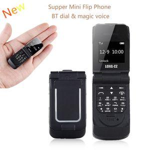 """مفتوح طويل-CZ J9 0.66 """"أصغر هاتف محمول البسيطة فليب الهاتف المحمول بلوتوث اللاسلكية المسجل FM سحر صوت يدوي سماعات للأطفال"""