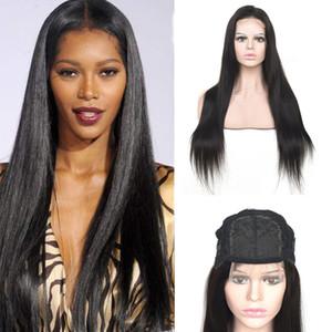 Brésilien 100% Humin Hair 4x4 Dentelle Perruque Silky Droite Naturel Couleur Naturel Four par quatre perruques de fermeture de lacets 10-32inch