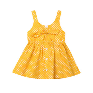 2019 Lovely Toddler Kids Baby Girl Summer Yellow Dot Print Dress Clothings Princesa sin mangas Partido Fiesta Vestidos Ropa Sundress