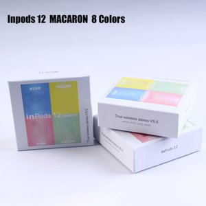 Inpods12 TWS Bluetooth Headphones Wireless Earphones Touch Control Headset Macaron Double Earbuds with Charging Box for Android