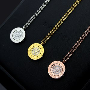 Factory price direct sale Roman numeral rotatable round brand full diamond necklace women's black round brand flipped Necklace