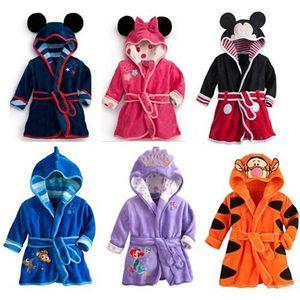 Children's Robe Flannel Baby Bathrobe Long Sleeve Hooded Kids Bath Robe Lovely Animal Child Boy Girls Robes Kids Clothes