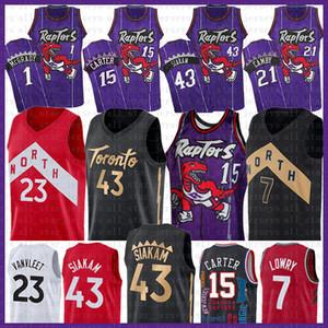 Vince Carter 15 NCAA Pascal 43 Siakam Baloncesto Jersey 2020 NUEVO Negro Kyle Lowry 7 Tracy McGrady 1 Marcus Camby 21 23 Fred VanVleet púrpura