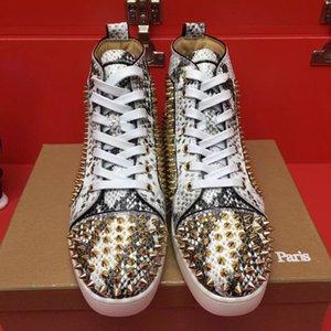 2019 Novo Luxo ouro pontos vermelhos Sapatilhas inferior sapatos de alta qualidade Casual Walking Famoso Python Leather Lazer Flats Com Box CS07