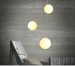 Postmodern Modo Lampe Pendentif Boule De Verre Éclairage Lustre Doré Lustre Pour Chambre À Coucher Salon