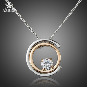 AZORA blanco clásico color oro blanco Stellux cristal austriaco colgante collar TN0075