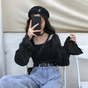 2020 New Chiffon Stitching Slim Slimming Short Long-Sleeved Shirt Women's Student Square Collar Shirt Womens Tops and Blouses