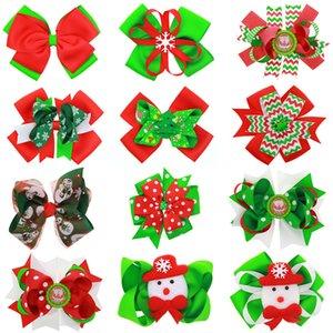 Niñas Navidad Big Bow Barrettes Horquillas Cinta de Navidad Serie Impreso Headwear Wave Stripe Snowflake Snowman Pinzas para el cabello Accesorios M388