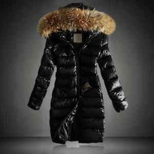 Long Down Jacket Frauen Pelzkragen Daunenmantel Winter Jacken Steppgepolsterte Damen Winter Herbst Warme Parkas Weibliche Outwear D25