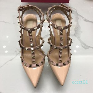 2020 Designer Pointed with Studs high heels 8CM 10CM Patent Leather rivets Sandals Women Studded Strappy Dress Party Office Wedding ct1