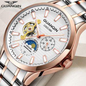 orologi uomini meccanici di Tourbillon GUANQIN superiore marca impermeabile orologio uomini d'affari analogica automatica Relogios orologi Masculino