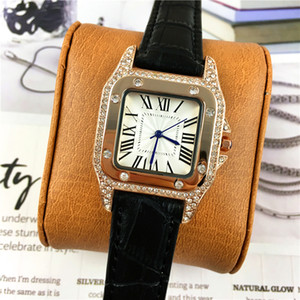 Venda quente Mulheres relógio de alta qualidade diamantes de luxo de couro colorido famoso designer de luxo Noble Feminino Quartz mãos luminosas Frete grátis