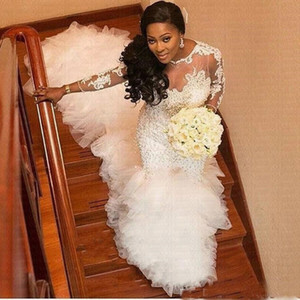 African Heavy Pearls Mermaid Wedding Dress Glitter Latest Lace Applique Bridal Gown For Black Girls Vestidos De Novia 2020