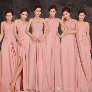 2019 New pas cher longues et courtes en mousseline soie Blush rose demoiselle d'honneur robes de bal robe mariage Party Dress 114