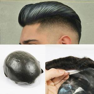 Sistema di sostituzione degli uomini pelle sottile dei capelli parrucchino reale umani Pezzi V-loop del Virgin del brasiliano dei capelli per gli uomini Natural Wave