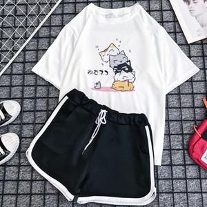 Milinsus Ensemble 2 pièces pour les femmes T-shirt + shorts d'été 2020 New O-cou à manches courtes Sweatsuit Imprimer mignon Femme En deux pièces Tenues