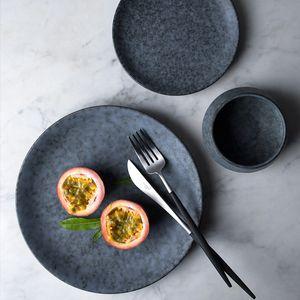 10inch ل/ 8INCH / 6nch الرمادية السيراميك الحلويات لوحات طبق نسيج الرخام أواني الطعام الصلب diningware الجملة