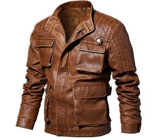 Mens Designer Giacche PU stand colletto a maniche lunghe Mens cappotti spessi Uomo Giacche con la chiusura lampo casuale Homme Outerwear