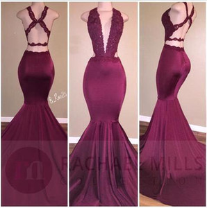 2019 Borgogna Sexy Deep V Neck Mermaid Prom Dresses Appliques in pizzo Backless Ruched Long Party Occasion Abiti Abito da sera lungo BA5014
