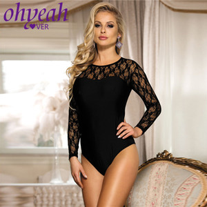 Ohyeahlover dentelle Lingerie Body manches longues Plus Size Body Combinaisons Mujer barboteuses Femmes Jumpsuit Salopette New RM80372