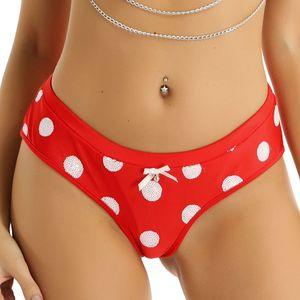 Women panties Underwear Christmas Holiday Costume Lingerie Low Rise Women's Underwear Underwear Elastic Waistband White Sequins Polka Dots B