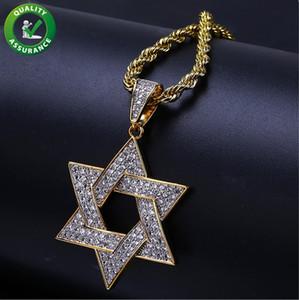 Iced Out Anhänger Hip Hop Schmuck Designer Halskette Luxus Cuban Gliederkette Jüdischer Davidstern Anhänger Männer Frauen Bling Diamant Rock Rapper