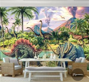 Custom 3d mural wallpaper Jurassic Dinosaur World living room bedroom Papel De Parede children's room walls Cartoon forests