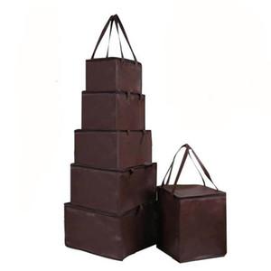 Commercio all'ingrosso breve rettangolo Dolci Frutta Dessert Borsa della carta kraft da asporto HandBag Cake Boxes Food Packaging Cucina Scatole per il pranzo